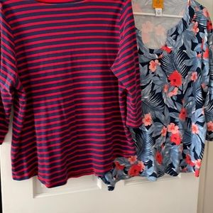 Women's Size 1 X  Red White and Blue Shirts Lot of 2
